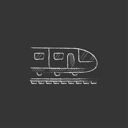 Modern high speed train. Hand drawn in chalk vector isolated icon for web, mobile and infographics.