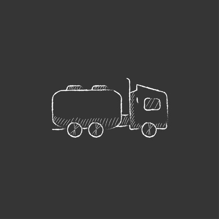 Truck liquid cargo. Hand drawn in chalk vector isolated icon for web, mobile and infographics.