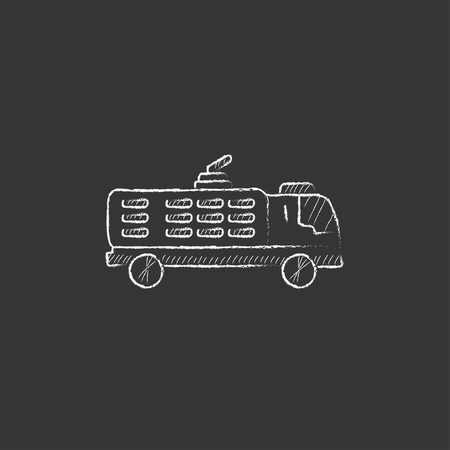 camion: Fire truck. Hand drawn in chalk vector isolated icon for web, mobile and infographics. Illustration