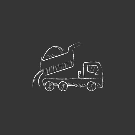 quicksand: Dump truck. Hand drawn in chalk vector isolated icon for web, mobile and infographics. Illustration