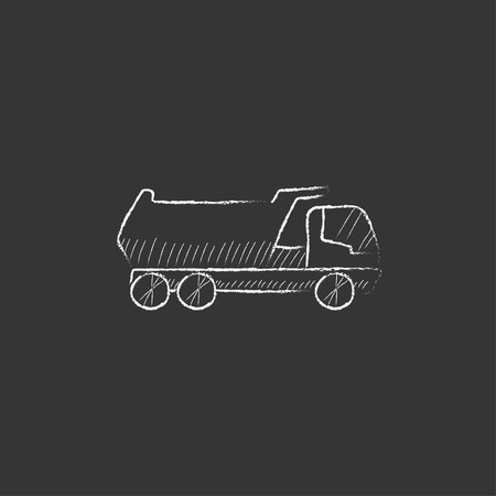 Dump truck. Hand drawn in chalk vector isolated icon for web, mobile and infographics. Illustration