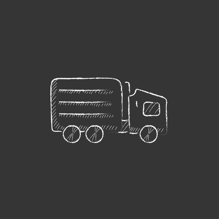 Delivery truck. Hand drawn in chalk vector isolated icon for web, mobile and infographics.