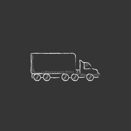 waggon: Delivery truck. Hand drawn in chalk vector isolated icon for web, mobile and infographics.