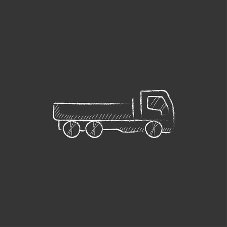 truckload: Dump truck. Hand drawn in chalk vector isolated icon for web, mobile and infographics. Illustration