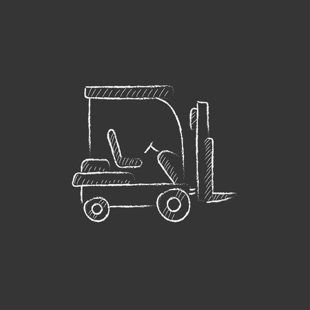 Forklift. Hand drawn in chalk vector isolated icon for web, mobile and infographics. Ilustracja
