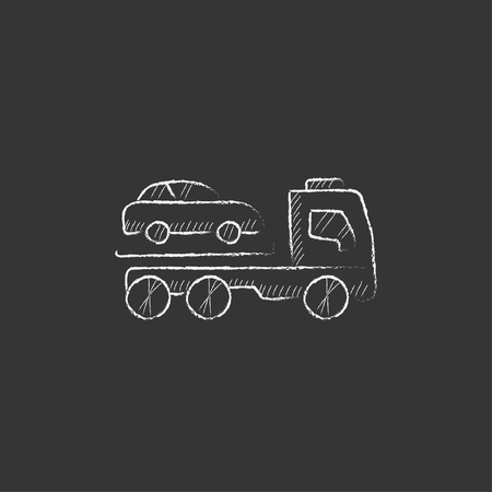 Car towing truck. Hand drawn in chalk vector isolated icon for web, mobile and infographics. Illustration