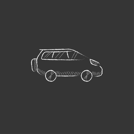 minivan: Minivan. Hand drawn in chalk vector isolated icon for web, mobile and infographics. Illustration