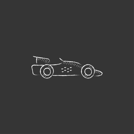 bolide: Race car. Hand drawn in chalk vector isolated icon for web, mobile and infographics.
