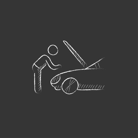 fixing: Man fixing car. Hand drawn in chalk vector isolated icon for web, mobile and infographics.