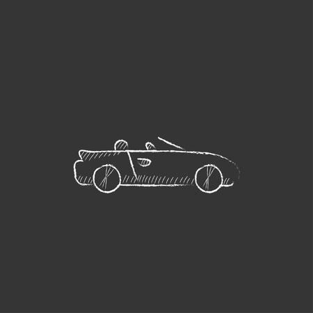 cabrio: Convertible car. Hand drawn in chalk vector isolated icon for web, mobile and infographics.