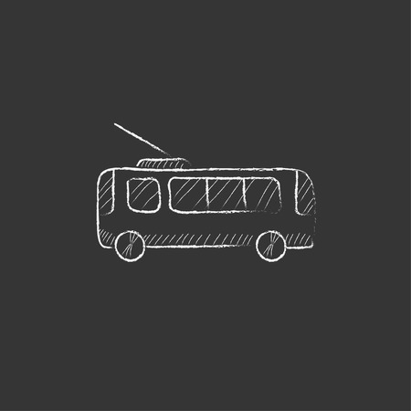 trolleybus: Trolleybus. Hand drawn in chalk vector isolated icon for web, mobile and infographics.