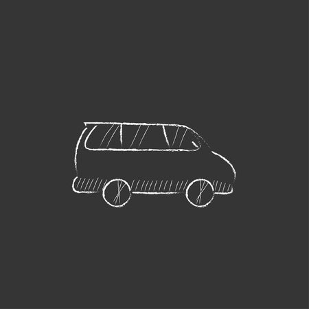 Minivan. Hand drawn in chalk vector isolated icon for web, mobile and infographics. Vektorové ilustrace