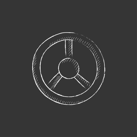 Steering wheel. Hand drawn in chalk vector isolated icon for web, mobile and infographics.