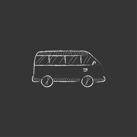 omnibus: Minibus. Hand drawn in chalk vector isolated icon for web, mobile and infographics.