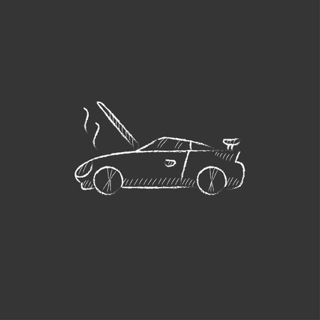 overheat: Broken car with open hood. Hand drawn in chalk vector isolated icon for web, mobile and infographics. Illustration