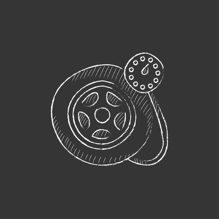 pressure gauge: Pressure gauge tyre. Hand drawn in chalk vector isolated icon for web, mobile and infographics.