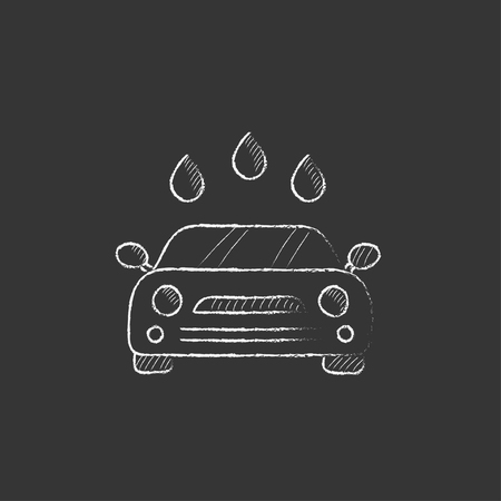 wash hand: Car wash. Hand drawn in chalk vector isolated icon for web, mobile and infographics.