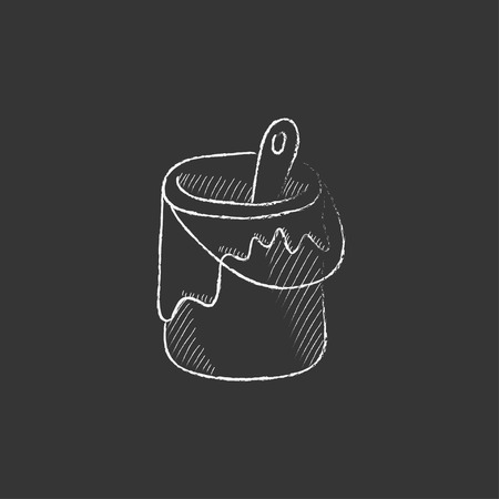paint tin: Paint brush in the paint tin. Hand drawn in chalk vector isolated icon for web, mobile and infographics.