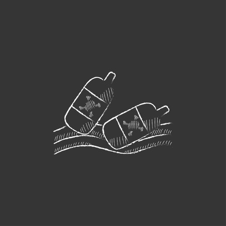 Bottles floating in the water. Hand drawn in chalk vector isolated icon for web, mobile and infographics.