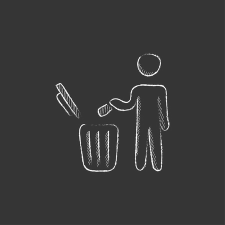garbage man: Man throwing garbage in a bin. Hand drawn in chalk vector isolated icon for web, mobile and infographics. Illustration