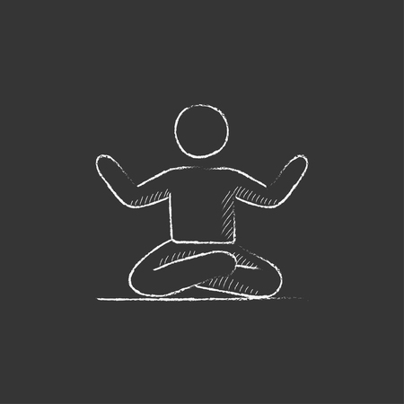 elasticity: A man meditating in lotus pose. Hand drawn in chalk vector isolated icon for web, mobile and infographics.
