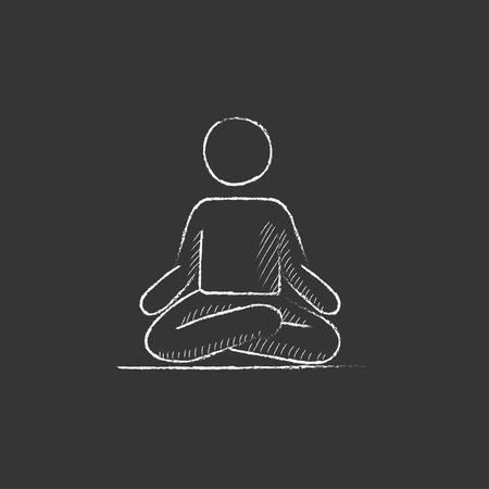 elasticidad: Un hombre meditando en posici�n de loto. Dibujado a mano en el icono de tiza vector aislado para web, m�vil y la infograf�a.