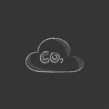CO2 sign in cloud. Hand drawn in chalk vector isolated icon for web, mobile and infographics.