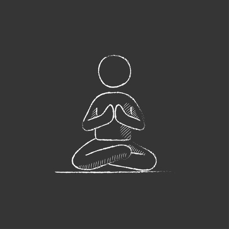 distension: A man meditating in lotus pose. Hand drawn in chalk vector isolated icon for web, mobile and infographics.