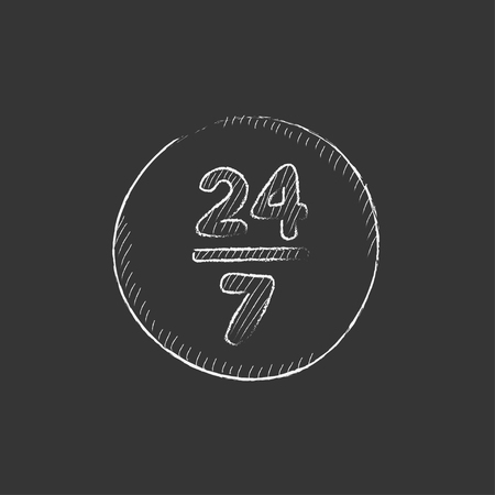 Open 24 hours and 7 days in wheek sign. Hand drawn in chalk vector isolated icon for web, mobile and infographics.