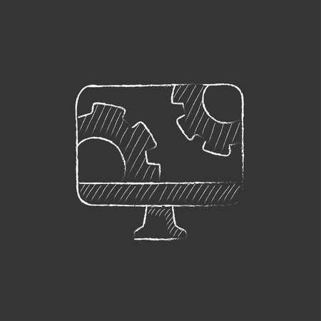 Computer monitor with gears. Hand drawn in chalk vector isolated icon for web, mobile and infographics. Illustration