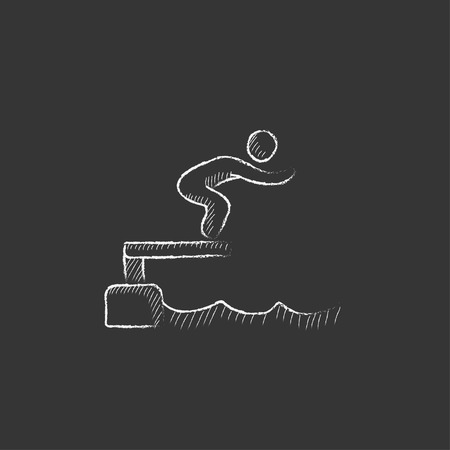 competitor: Swimmer jumping from starting block in pool. Hand drawn in chalk vector isolated icon for web, mobile and infographics.