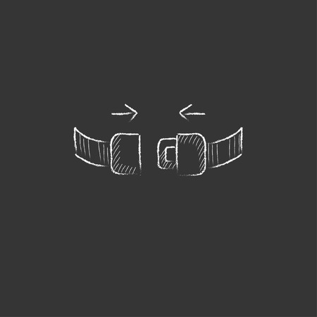 turbulence: Seat belt. Hand drawn in chalk vector isolated icon for web, mobile and infographics.