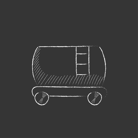cisterna: cisterna de ferrocarril. Dibujado a mano en el icono de tiza vector aislado para web, m�vil y la infograf�a.