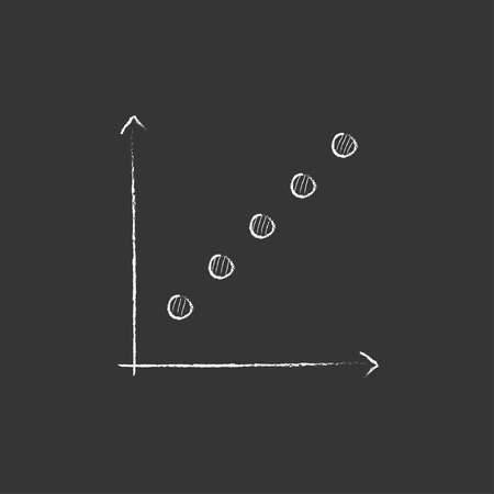 discontinuous: Growth graph. Hand drawn in chalk vector isolated icon for web, mobile and infographics.