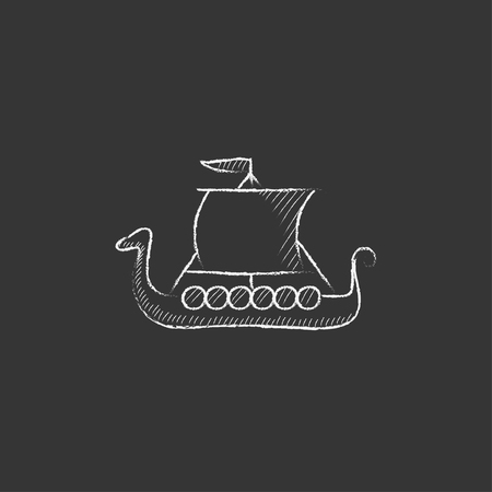 shallop: Old ship. Hand drawn in chalk vector isolated icon for web, mobile and infographics.