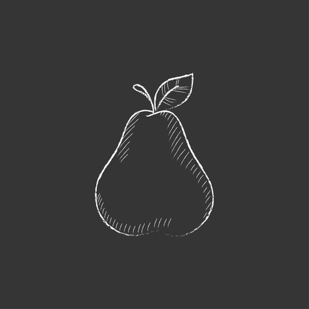 ripened: Pear. Hand drawn in chalk vector isolated icon for web, mobile and infographics. Illustration