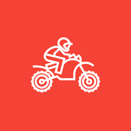 cycle suit: Man riding a motocross bike thick line icon with pointed corners and edges for web, mobile and infographics. Vector isolated icon.