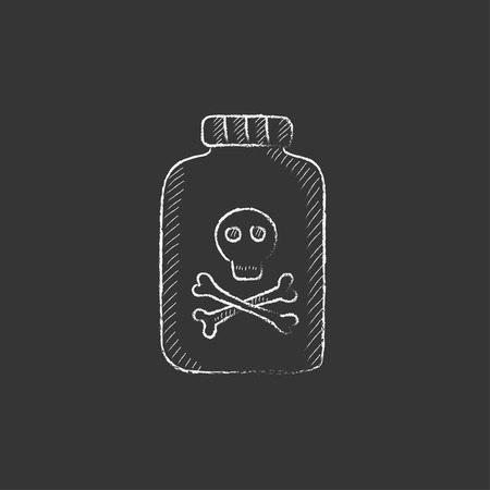 poison symbol: Bottle of poison. Hand drawn in chalk vector isolated icon for web, mobile and infographics. Illustration