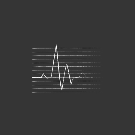 pulse trace: Hheart beat cardiogram. Hand drawn in chalk vector isolated icon for web, mobile and infographics. Illustration
