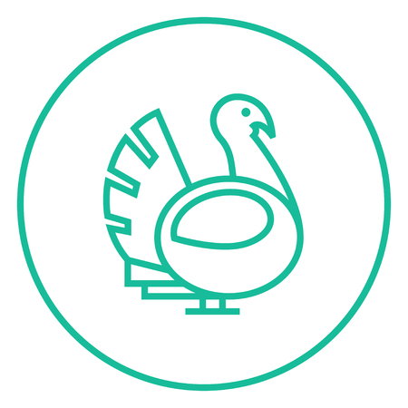 gobbler: Turkey thick line icon with pointed corners and edges for web, mobile and infographics. Vector isolated icon.