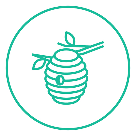Bee hive thick line icon with pointed corners and edges for web, mobile and infographics. Vector isolated icon. Ilustração