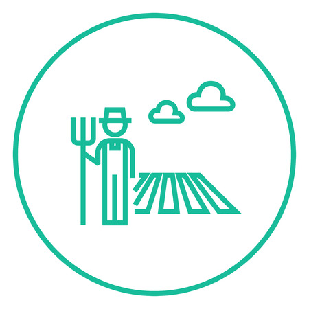 grower: Farmer with pitchfork standing on the field thick line icon with pointed corners and edges for web, mobile and infographics. Vector isolated icon.