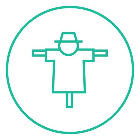 horrific: Scarecrow thick line icon with pointed corners and edges for web, mobile and infographics. Vector isolated icon.