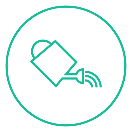 Watering can thick line icon with pointed corners and edges for web, mobile and infographics. Vector isolated icon.