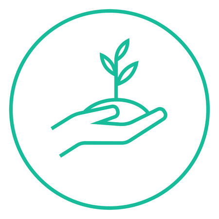 Hands holding seedling in soil thick line icon with pointed corners and edges for web, mobile and infographics. Vector isolated icon.
