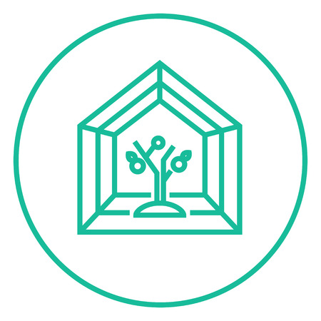 greenhouse: Greenhouse thick line icon with pointed corners and edges for web, mobile and infographics. Vector isolated icon. Illustration