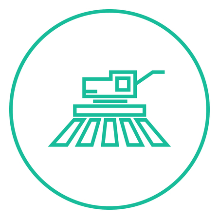 combine harvester: Combine harvester thick line icon with pointed corners and edges for web, mobile and infographics. Vector isolated icon.