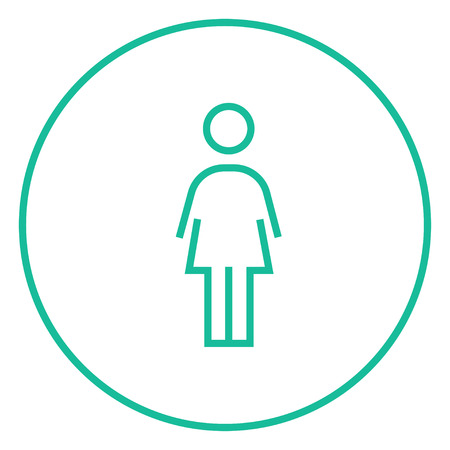 Business woman thick line icon with pointed corners and edges for web, mobile and infographics. Vector isolated icon.