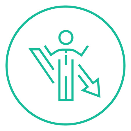 Businessman with raised hands and arrow going down thick line icon with pointed corners and edges for web, mobile and infographics. Vector isolated icon.