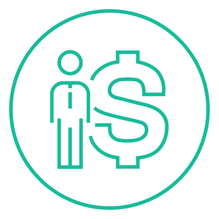 fullbody: Businessman standing beside the dollar symbol thick line icon with pointed corners and edges for web, mobile and infographics. Vector isolated icon.